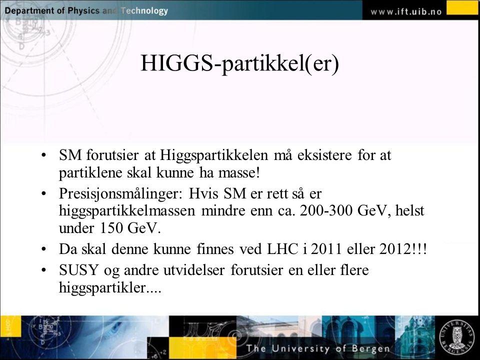 Normal text - click to edit HIGGS-partikkel(er) SM forutsier at Higgspartikkelen må eksistere for at partiklene skal kunne ha masse.