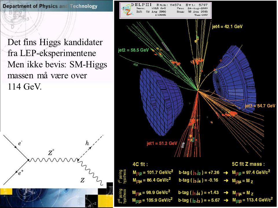 Normal text - click to edit Det fins Higgs kandidater fra LEP-eksperimentene Men ikke bevis: SM-Higgs massen må være over 114 GeV.