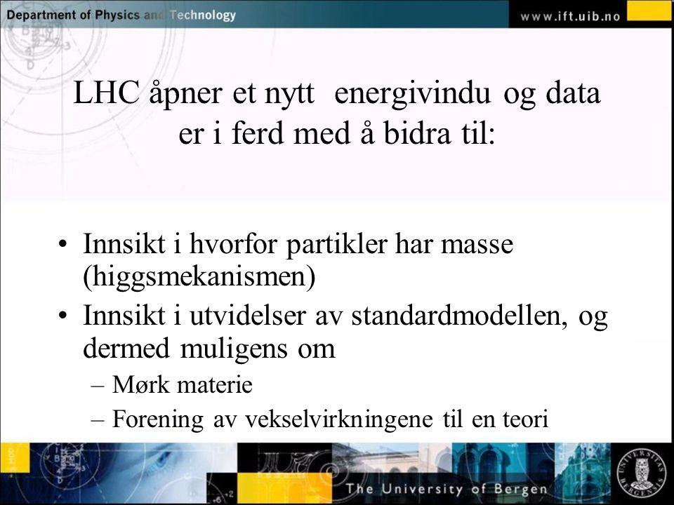 Normal text - click to edit LHC åpner et nytt energivindu og data er i ferd med å bidra til: Innsikt i hvorfor partikler har masse (higgsmekanismen) Innsikt i utvidelser av standardmodellen, og dermed muligens om –Mørk materie –Forening av vekselvirkningene til en teori
