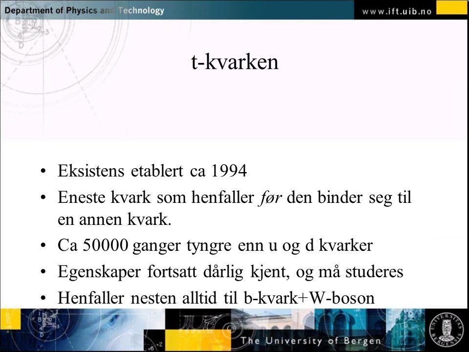 t-kvarken Eksistens etablert ca 1994 Eneste kvark som henfaller før den binder seg til en annen kvark.