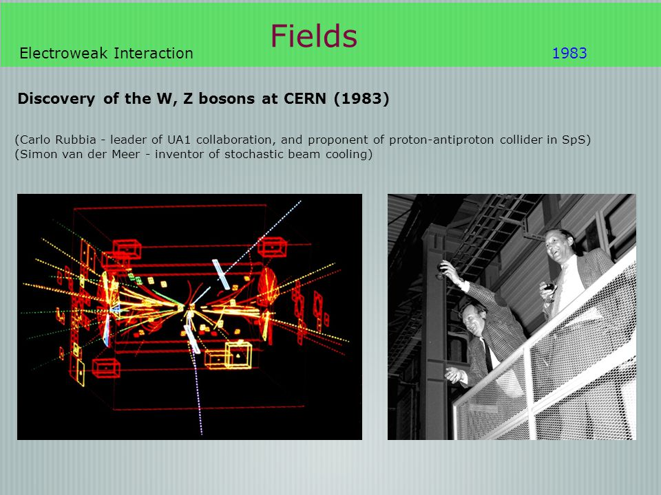 Fields Electroweak Interaction1983 Discovery of the W, Z bosons at CERN (1983) (Carlo Rubbia - leader of UA1 collaboration, and proponent of proton-an