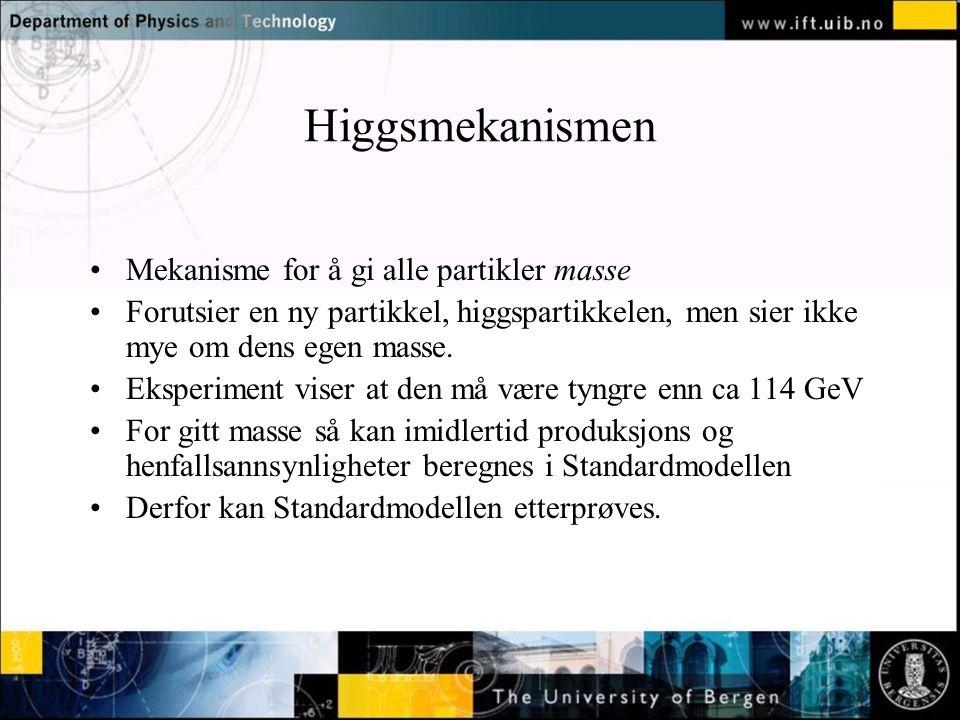 Higgsmekanismen Mekanisme for å gi alle partikler masse Forutsier en ny partikkel, higgspartikkelen, men sier ikke mye om dens egen masse. Eksperiment