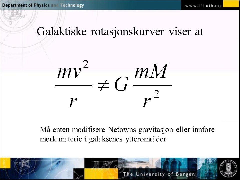Normal text - click to edit Galaktiske rotasjonskurver viser at Må enten modifisere Netowns gravitasjon eller innføre mørk materie i galaksenes yttero