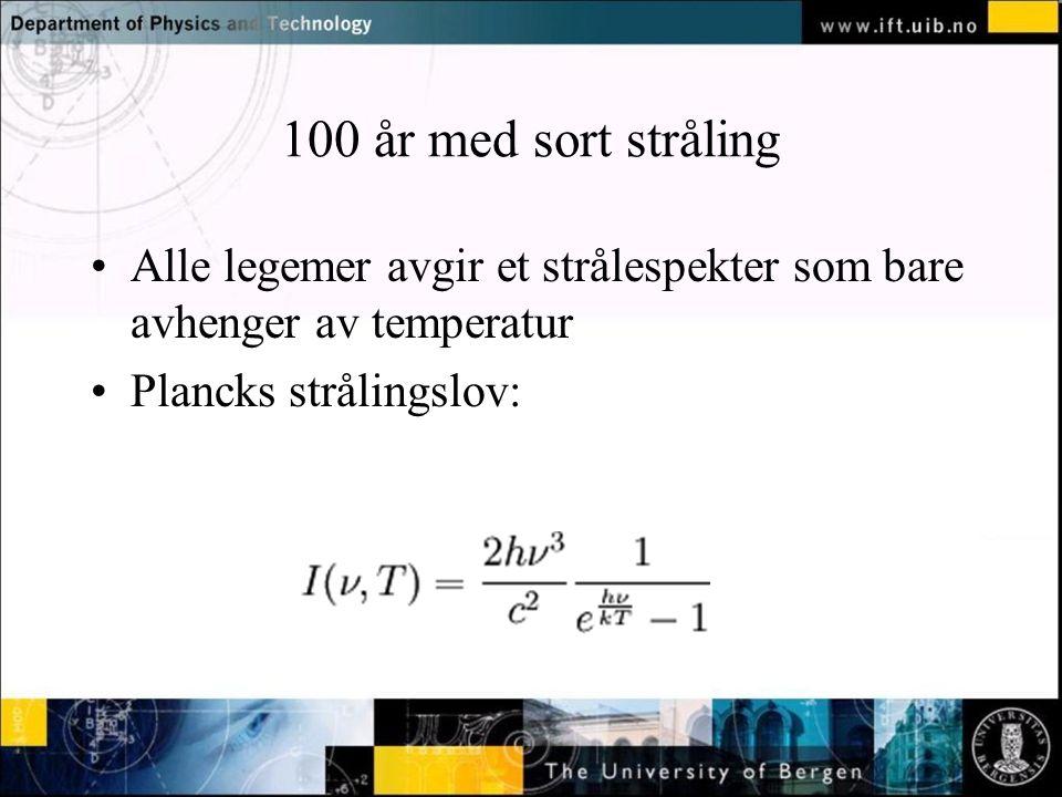 Normal text - click to edit 100 år med sort stråling Alle legemer avgir et strålespekter som bare avhenger av temperatur Plancks strålingslov: