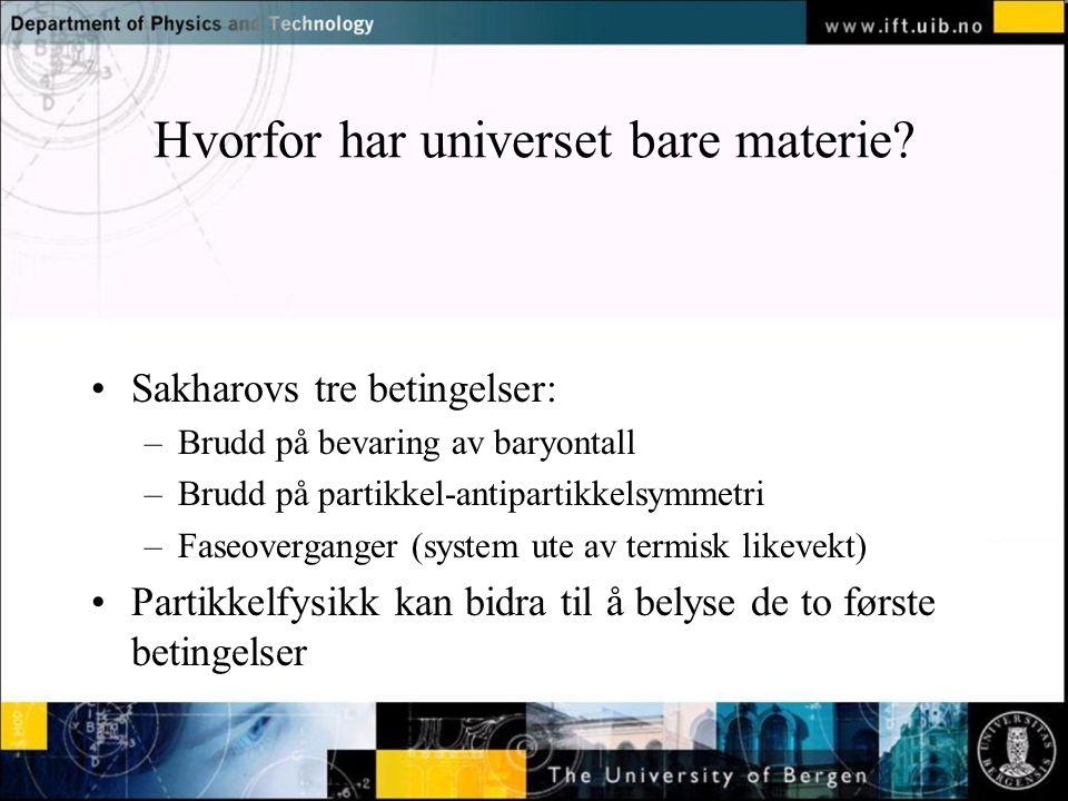 Normal text - click to edit Hvorfor har universet bare materie? Sakharovs tre betingelser: –Brudd på bevaring av baryontall –Brudd på partikkel-antipa