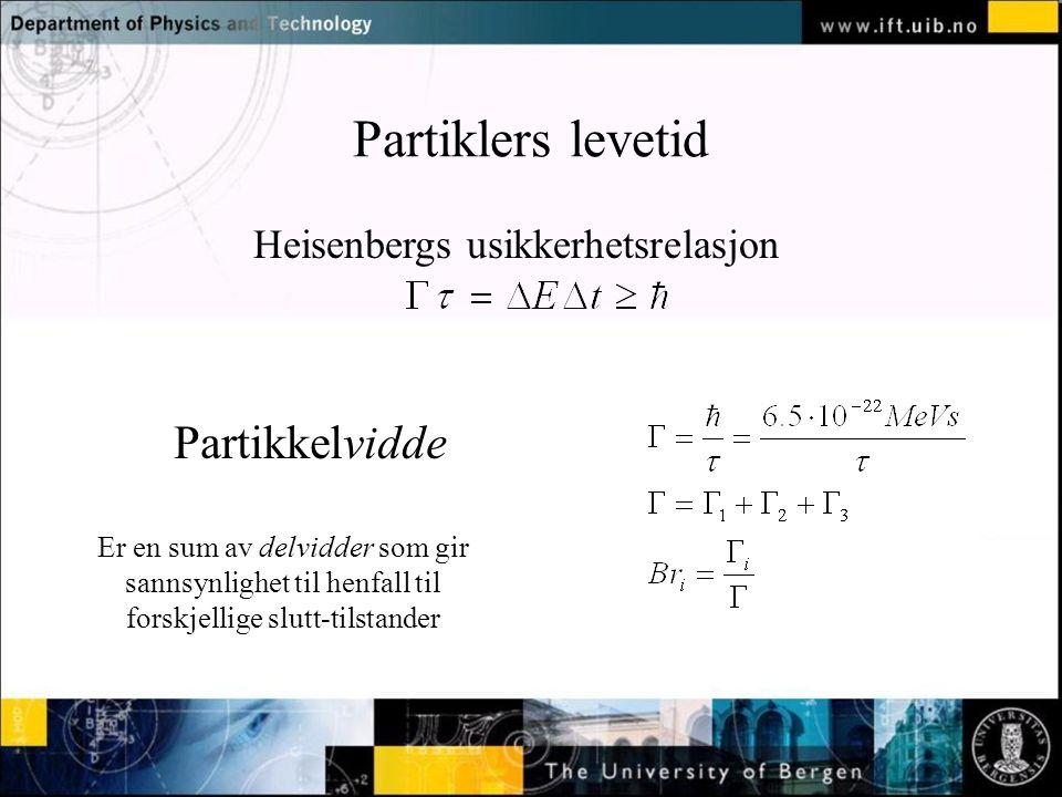 Partiklers levetid Heisenbergs usikkerhetsrelasjon Partikkelvidde Er en sum av delvidder som gir sannsynlighet til henfall til forskjellige slutt-tils