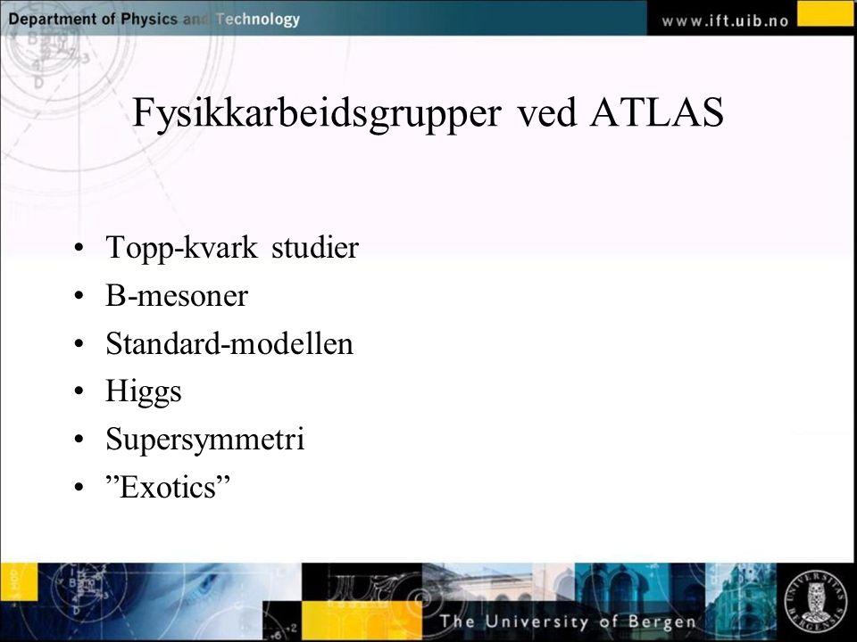 Fysikkarbeidsgrupper ved ATLAS Topp-kvark studier B-mesoner Standard-modellen Higgs Supersymmetri Exotics