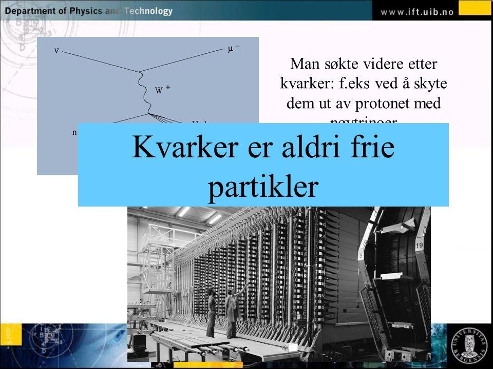 Normal text - click to edit Man søkte videre etter kvarker: f.eks ved å skyte dem ut av protonet med nøytrinoer Kvarker er aldri frie partikler
