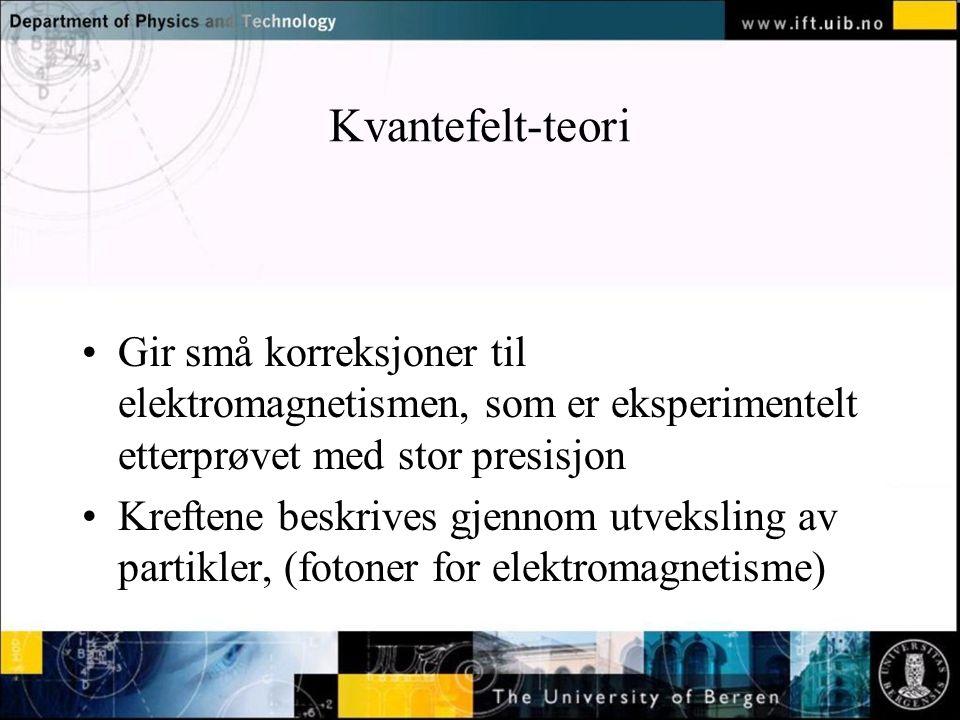 Normal text - click to edit Kvantefelt-teori Gir små korreksjoner til elektromagnetismen, som er eksperimentelt etterprøvet med stor presisjon Kreftene beskrives gjennom utveksling av partikler, (fotoner for elektromagnetisme)