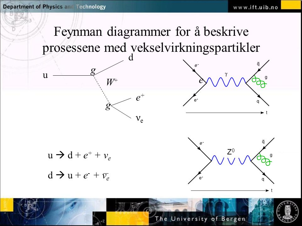 Normal text - click to edit Feynman diagrammer for å beskrive prosessene med vekselvirkningspartikler u d e+e+ νeνe W+W+ u  d + e + + ν e d  u + e -