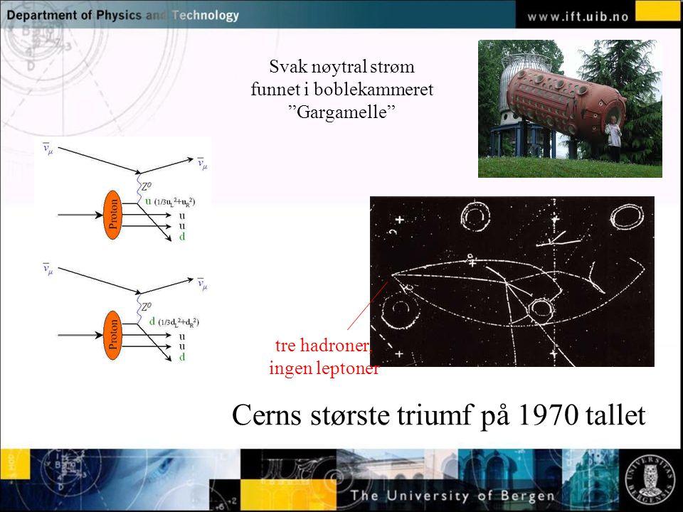 """Normal text - click to edit Svak nøytral strøm funnet i boblekammeret """"Gargamelle"""" Cerns største triumf på 1970 tallet tre hadroner, ingen leptoner"""
