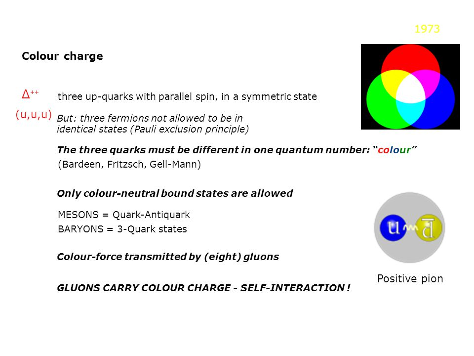 Colour charge Δ ++ three up-quarks with parallel spin, in a symmetric state But: three fermions not allowed to be in identical states (Pauli exclusion principle) The three quarks must be different in one quantum number: colour 1973 (Bardeen, Fritzsch, Gell-Mann) Only colour-neutral bound states are allowed MESONS = Quark-Antiquark BARYONS = 3-Quark states Colour-force transmitted by (eight) gluons GLUONS CARRY COLOUR CHARGE - SELF-INTERACTION .
