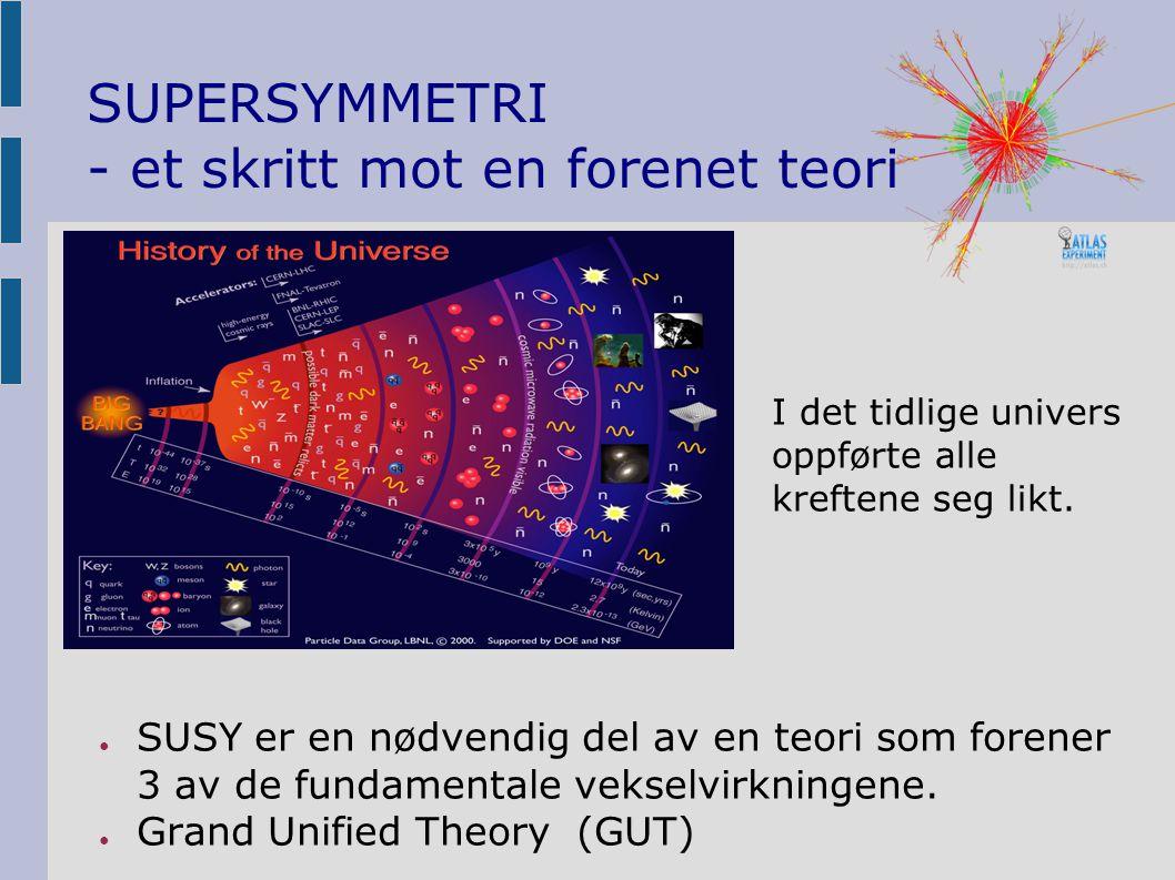 SUPERSYMMETRI - et skritt mot en forenet teori ● SUSY er en nødvendig del av en teori som forener 3 av de fundamentale vekselvirkningene.