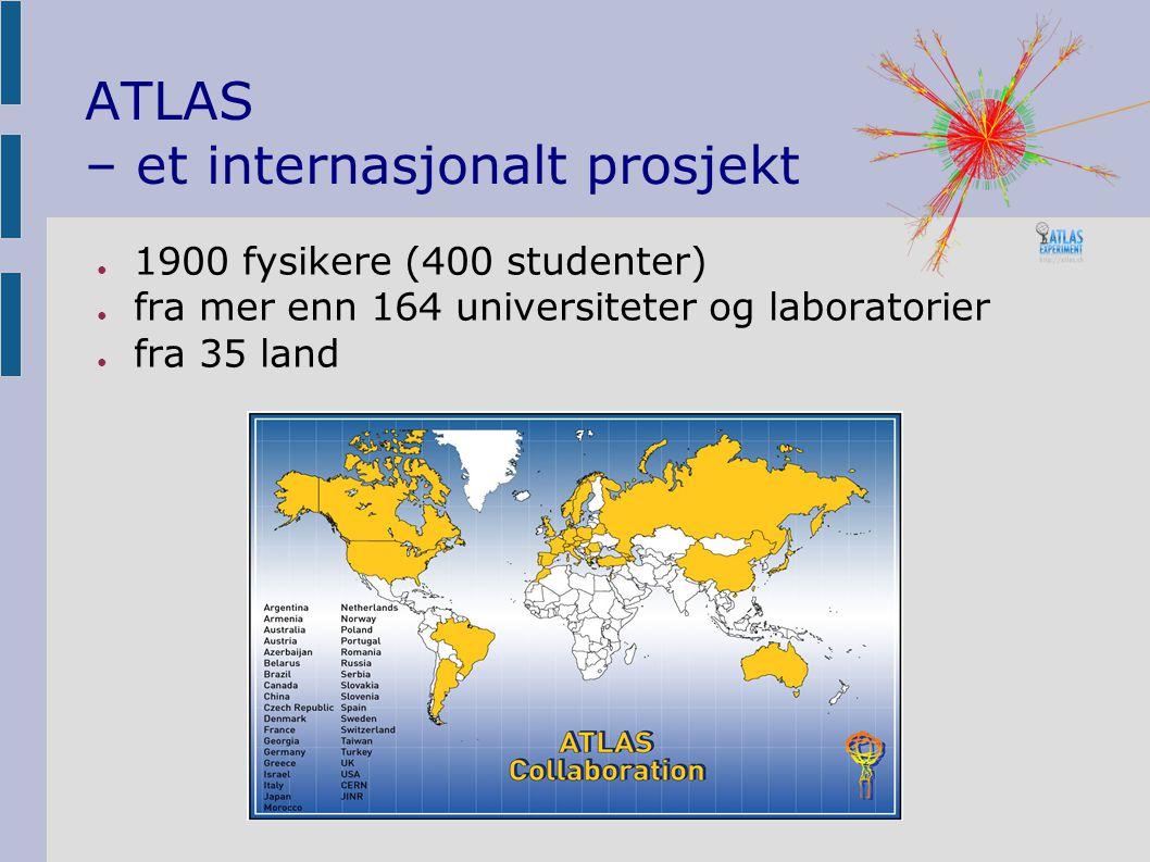 ATLAS – et internasjonalt prosjekt ● 1900 fysikere (400 studenter) ● fra mer enn 164 universiteter og laboratorier ● fra 35 land