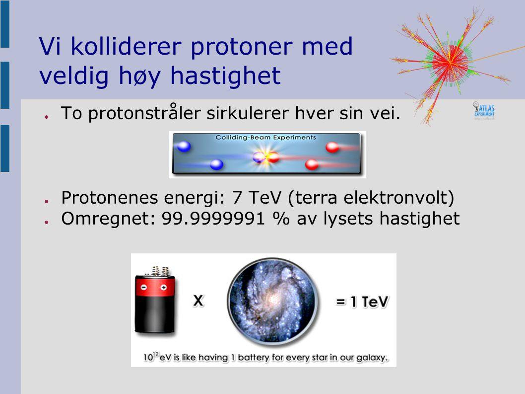 Vi kolliderer protoner med veldig høy hastighet ● To protonstråler sirkulerer hver sin vei.