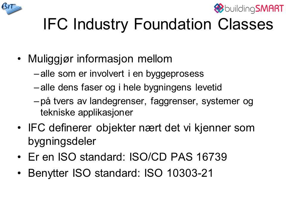 IFC Industry Foundation Classes Muliggjør informasjon mellom –alle som er involvert i en byggeprosess –alle dens faser og i hele bygningens levetid –på tvers av landegrenser, faggrenser, systemer og tekniske applikasjoner IFC definerer objekter nært det vi kjenner som bygningsdeler Er en ISO standard: ISO/CD PAS 16739 Benytter ISO standard: ISO 10303-21
