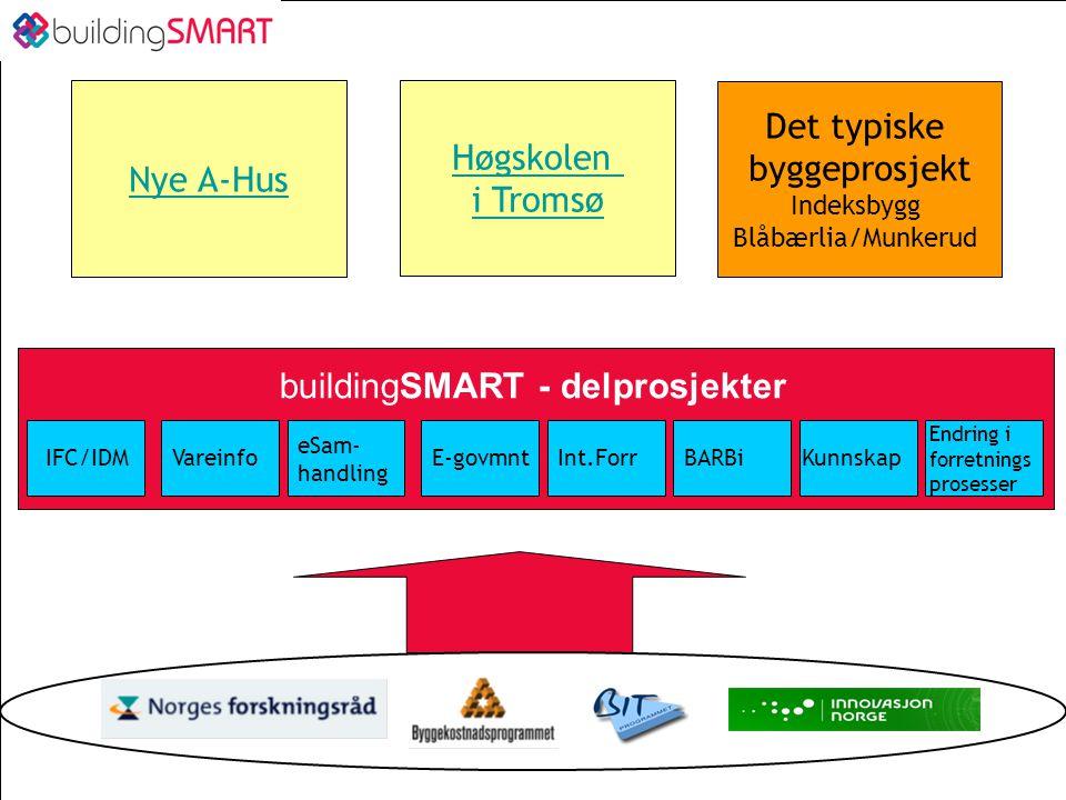 Nytte av nøytrale datautvekslingsformater Prosjekterende –Riktigere datagrunnlag, raskere prosjektering, nye produkter , bedre kunnskapsforvaltning Vareprodusenter –Bredere varesortiment, bedre produktutvikling, bedre forutsigbarhet, økt nærhet til sluttkunder Handel –Logistikkoptimering Utførende –Bedre planlegging, kvalitetsforbedring i produksjon, logistikk optimering Byggherre –Beslutningsstøtte for tidlig fase, kvalitetssikring lavere kontraktspriser, bedre beslutningssimulering Forvalter –Kostnadsreduksjon, tilgang vareinfo, Myndigheter –Mer effektiv saksbehandling, bedre forskrifter Samfunn –Mer effektiv resursbruk, økt konkurransekraft, økt eksport Kilde: Lars C Christensen, Selvaag Gruppen, 2004