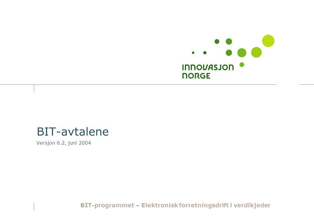 BIT-avtalene Versjon 6.2, juni 2004 BIT-programmet – Elektronisk forretningsdrift i verdikjeder