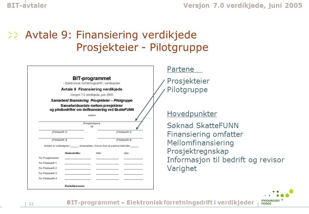 12 Avtale 9: Finansiering verdikjede Prosjekteier - Pilotgruppe Partene Prosjekteier Pilotgruppe Hovedpunkter Søknad SkatteFUNN Finansiering omfatter