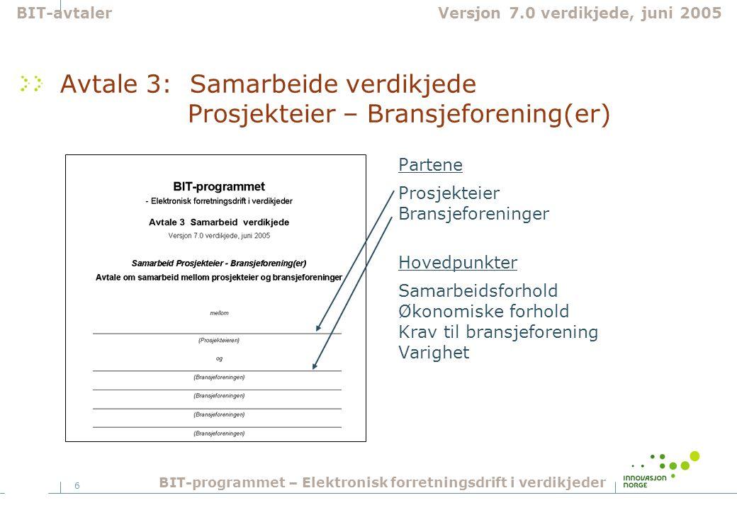 6 Avtale 3: Samarbeide verdikjede Prosjekteier – Bransjeforening(er) Partene Prosjekteier Bransjeforeninger Hovedpunkter Samarbeidsforhold Økonomiske