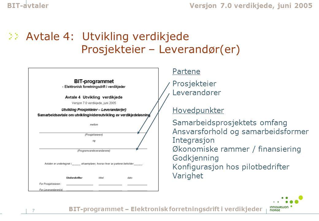 7 Avtale 4: Utvikling verdikjede Prosjekteier – Leverandør(er) Partene Prosjekteier Leverandører Hovedpunkter Samarbeidsprosjektets omfang Ansvarsforh