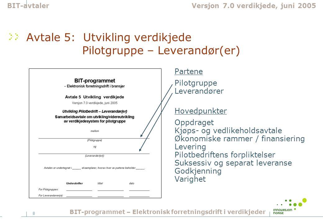 8 Avtale 5: Utvikling verdikjede Pilotgruppe – Leverandør(er) Partene Pilotgruppe Leverandører Hovedpunkter Oppdraget Kjøps- og vedlikeholdsavtale Øko