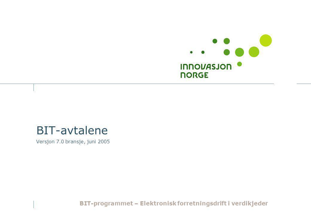 BIT-avtalene Versjon 7.0 bransje, juni 2005 BIT-programmet – Elektronisk forretningsdrift i verdikjeder