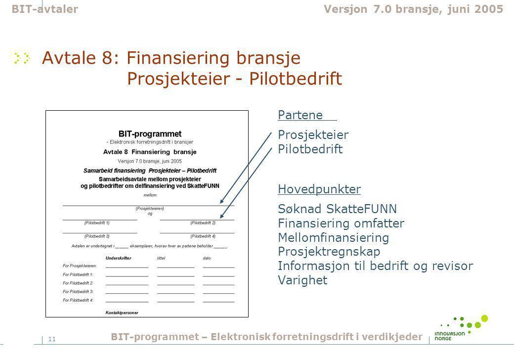 11 Avtale 8: Finansiering bransje Prosjekteier - Pilotbedrift Partene Prosjekteier Pilotbedrift Hovedpunkter Søknad SkatteFUNN Finansiering omfatter Mellomfinansiering Prosjektregnskap Informasjon til bedrift og revisor Varighet BIT-avtalerVersjon 7.0 bransje, juni 2005 BIT-programmet – Elektronisk forretningsdrift i verdikjeder