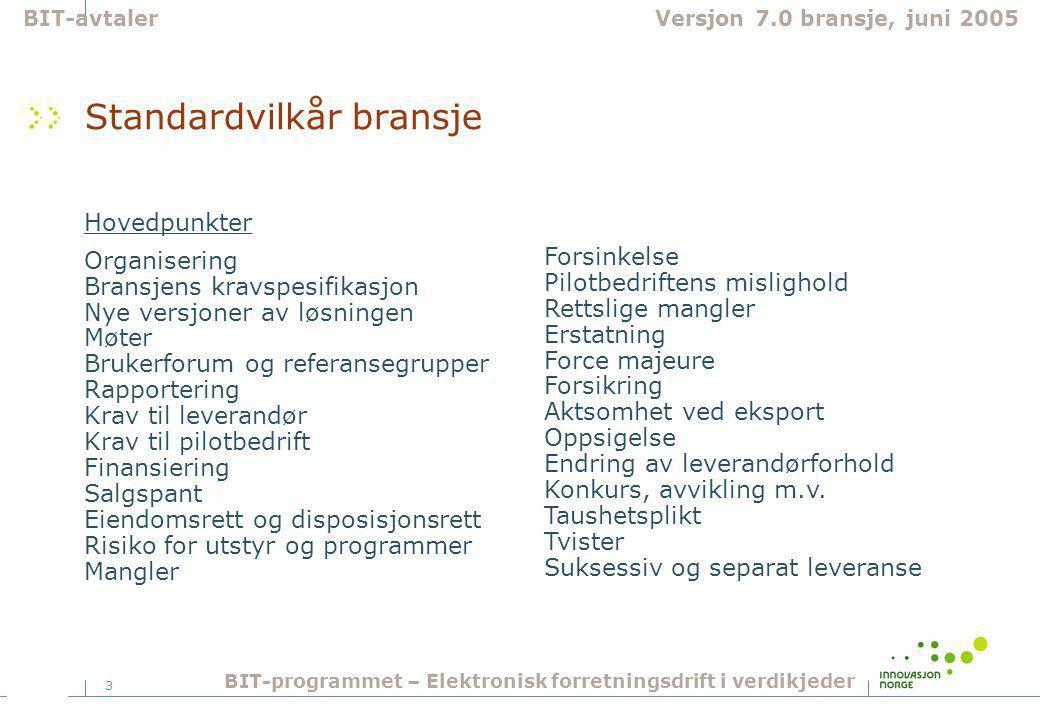 3 Standardvilkår bransje Hovedpunkter Organisering Bransjens kravspesifikasjon Nye versjoner av løsningen Møter Brukerforum og referansegrupper Rappor