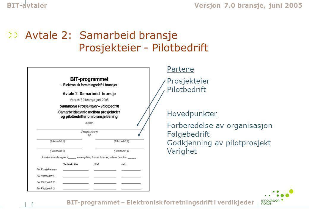 5 Avtale 2: Samarbeid bransje Prosjekteier - Pilotbedrift Partene Prosjekteier Pilotbedrift Hovedpunkter Forberedelse av organisasjon Følgebedrift Godkjenning av pilotprosjekt Varighet BIT-avtalerVersjon 7.0 bransje, juni 2005 BIT-programmet – Elektronisk forretningsdrift i verdikjeder