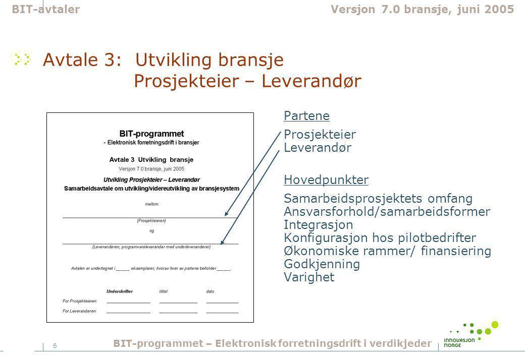 6 Avtale 3: Utvikling bransje Prosjekteier – Leverandør Partene Prosjekteier Leverandør Hovedpunkter Samarbeidsprosjektets omfang Ansvarsforhold/samarbeidsformer Integrasjon Konfigurasjon hos pilotbedrifter Økonomiske rammer/ finansiering Godkjenning Varighet BIT-avtalerVersjon 7.0 bransje, juni 2005 BIT-programmet – Elektronisk forretningsdrift i verdikjeder
