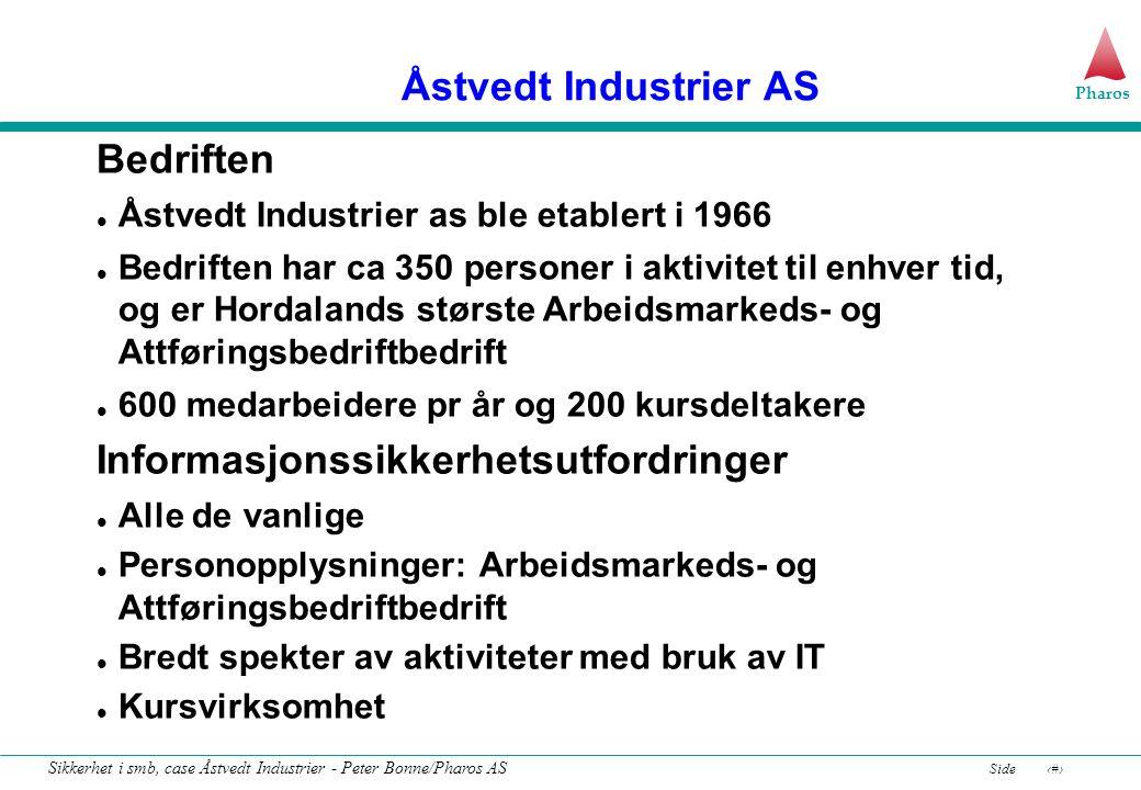 Pharos Side13 Sikkerhet i smb, case Åstvedt Industrier - Peter Bonne/Pharos AS Standarder for informasjonssikkerhet