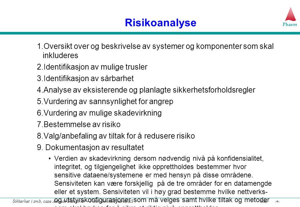 Pharos Side5 Sikkerhet i smb, case Åstvedt Industrier - Peter Bonne/Pharos AS Risikoanalyse 1.Oversikt over og beskrivelse av systemer og komponenter som skal inkluderes 2.Identifikasjon av mulige trusler 3.Identifikasjon av sårbarhet 4.Analyse av eksisterende og planlagte sikkerhetsforholdsregler 5.Vurdering av sannsynlighet for angrep 6.Vurdering av mulige skadevirkning 7.Bestemmelse av risiko 8.Valg/anbefaling av tiltak for å redusere risiko 9.