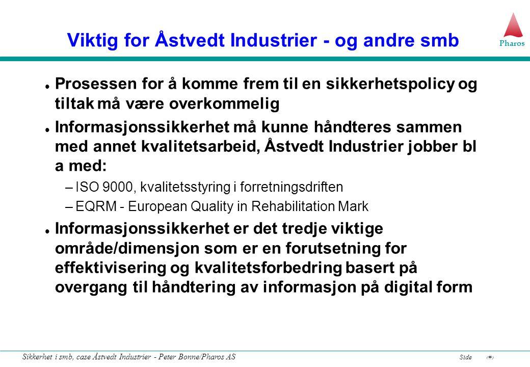 Pharos Side8 Sikkerhet i smb, case Åstvedt Industrier - Peter Bonne/Pharos AS Den enkleste form for risikostyring vær forsiktig .