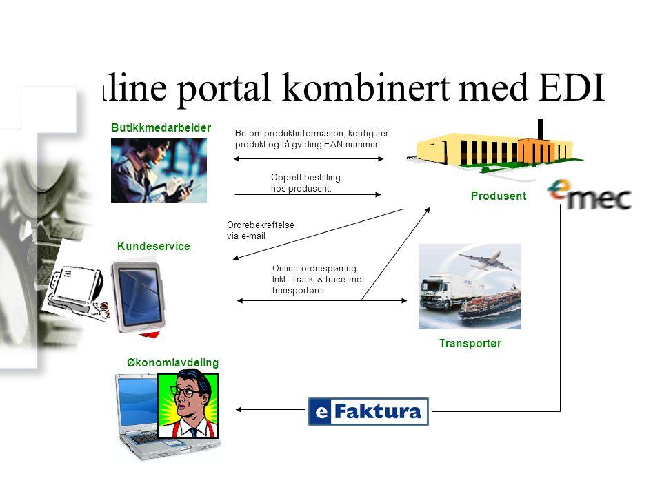 Online portal kombinert med EDI Produsent Be om produktinformasjon, konfigurer produkt og få gylding EAN-nummer Butikkmedarbeider Opprett bestilling h