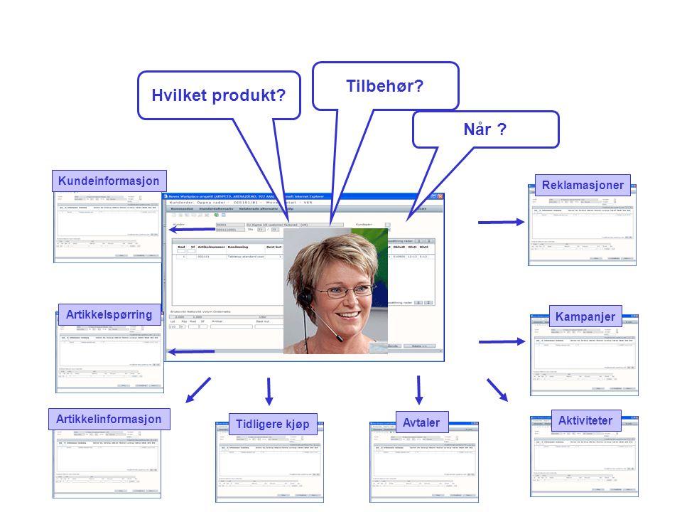 Hvilket produkt? Tilbehør? Når ? Aktiviteter Kundeinformasjon Tidligere kjøp Avtaler Kampanjer Reklamasjoner Artikkelinformasjon Artikkelspørring