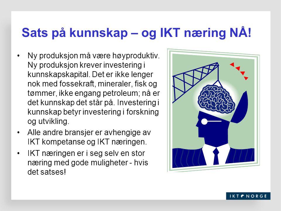 Sats på kunnskap – og IKT næring NÅ! Ny produksjon må være høyproduktiv. Ny produksjon krever investering i kunnskapskapital. Det er ikke lenger nok m