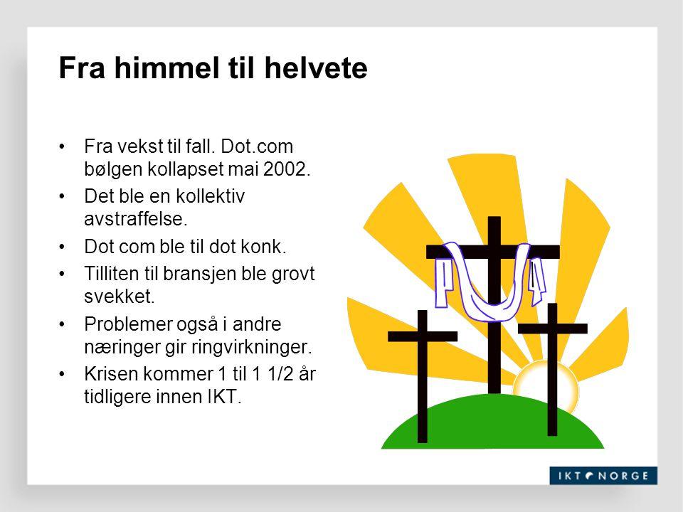 IT-bransjens betydning for Norge Betydelig Næringsgren i vekst –Stor lokal verdiskapning (vekst, lønnsom …) –Motiverer unge til å ta høy utdanning –Stort (ubenyttet) eksport potensiale –Ung bransje på vei mot industrialisering Viktig del av landets infrastruktur –En av de viktigste konkurransefremmende virkemidler –Høyt norsk kostnivå må kompenseres med teknologi Betydning av å ha norsk eierskap –HQ og kompetanse følges ad –Villighet til kontinuitet og prioritering av Norge –Trenger lokomotiver/havner for gründervirksomhetene IT bransjen konkurrerer ikke med øvrige bransjer !