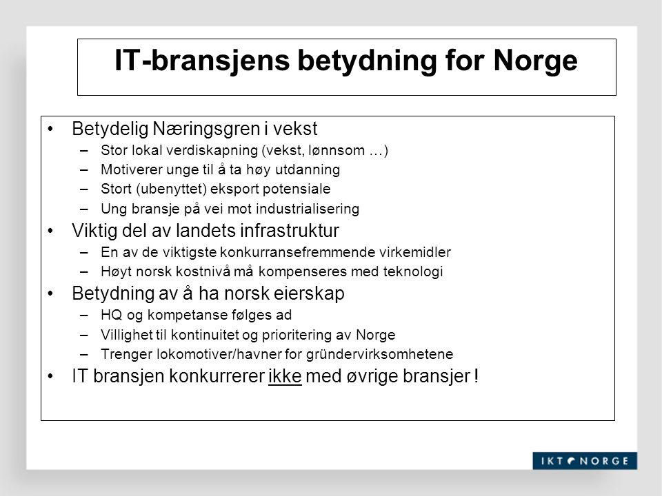 IT-bransjens betydning for Norge Betydelig Næringsgren i vekst –Stor lokal verdiskapning (vekst, lønnsom …) –Motiverer unge til å ta høy utdanning –St