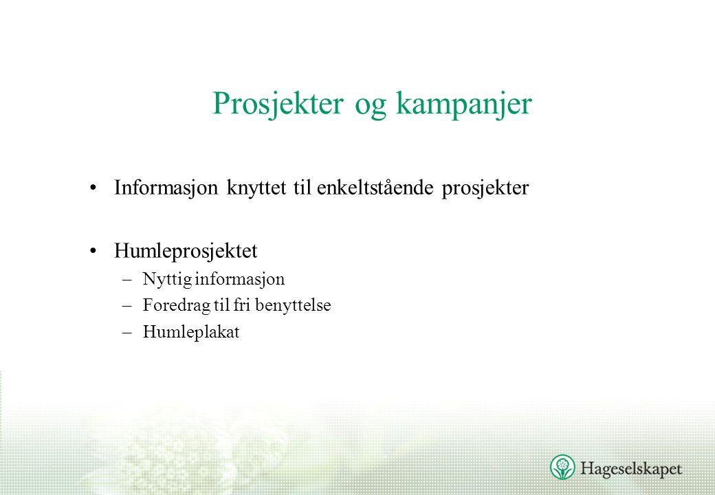 Prosjekter og kampanjer Informasjon knyttet til enkeltstående prosjekter Humleprosjektet –Nyttig informasjon –Foredrag til fri benyttelse –Humleplakat