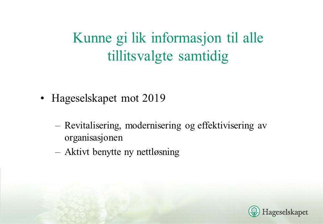 Kunne gi lik informasjon til alle tillitsvalgte samtidig Hageselskapet mot 2019 –Revitalisering, modernisering og effektivisering av organisasjonen –Aktivt benytte ny nettløsning