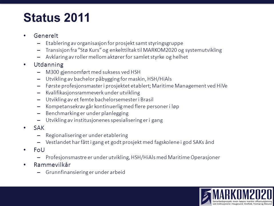 Status 2011 Generelt – Etablering av organisasjon for prosjekt samt styringsgruppe – Transisjon fra Stø Kurs og enkelttiltak til MARKOM2020 og systemutvikling – Avklaring av roller mellom aktører for samlet styrke og helhet Utdanning – M300 gjennomført med suksess ved HSH – Utvikling av bachelor påbygging for maskin, HSH/HiAls – Første profesjonsmaster i prosjektet etablert; Maritime Management ved HiVe – Kvalifikasjonsrammeverk under utvikling – Utvikling av et femte bachelorsemester i Brasil – Kompetansekrav går kontinuerlig med flere personer i løp – Benchmarking er under planlegging – Utvikling av institusjonenes spesialisering er i gang SAK – Regionalisering er under etablering – Vestlandet har fått i gang et godt prosjekt med fagskolene i god SAKs ånd FoU – Profesjonsmastre er under utvikling, HSH/HiAls med Maritime Operasjoner Rammevilkår – Grunnfinansiering er under arbeid