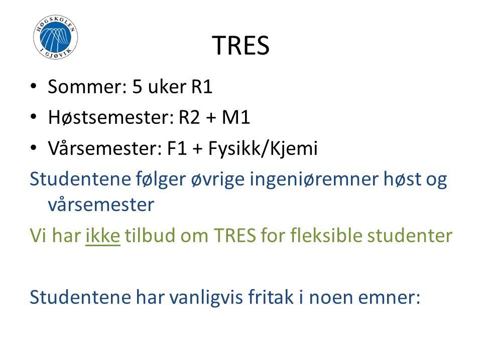 TRES Sommer: 5 uker R1 Høstsemester: R2 + M1 Vårsemester: F1 + Fysikk/Kjemi Studentene følger øvrige ingeniøremner høst og vårsemester Vi har ikke tilbud om TRES for fleksible studenter Studentene har vanligvis fritak i noen emner: