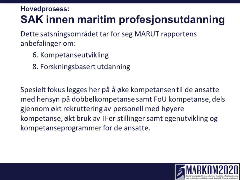 Hovedprosess: SAK innen maritim profesjonsutdanning Dette satsningsområdet tar for seg MARUT rapportens anbefalinger om: 6. Kompetanseutvikling 8. For