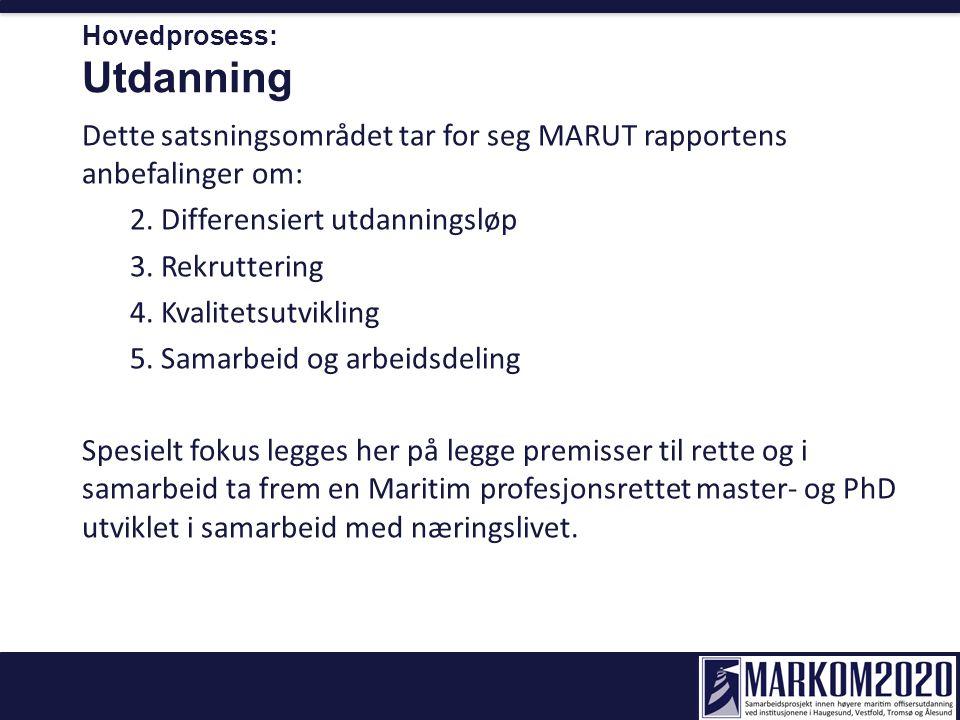 Hovedprosess: Utdanning Dette satsningsområdet tar for seg MARUT rapportens anbefalinger om: 2. Differensiert utdanningsløp 3. Rekruttering 4. Kvalite