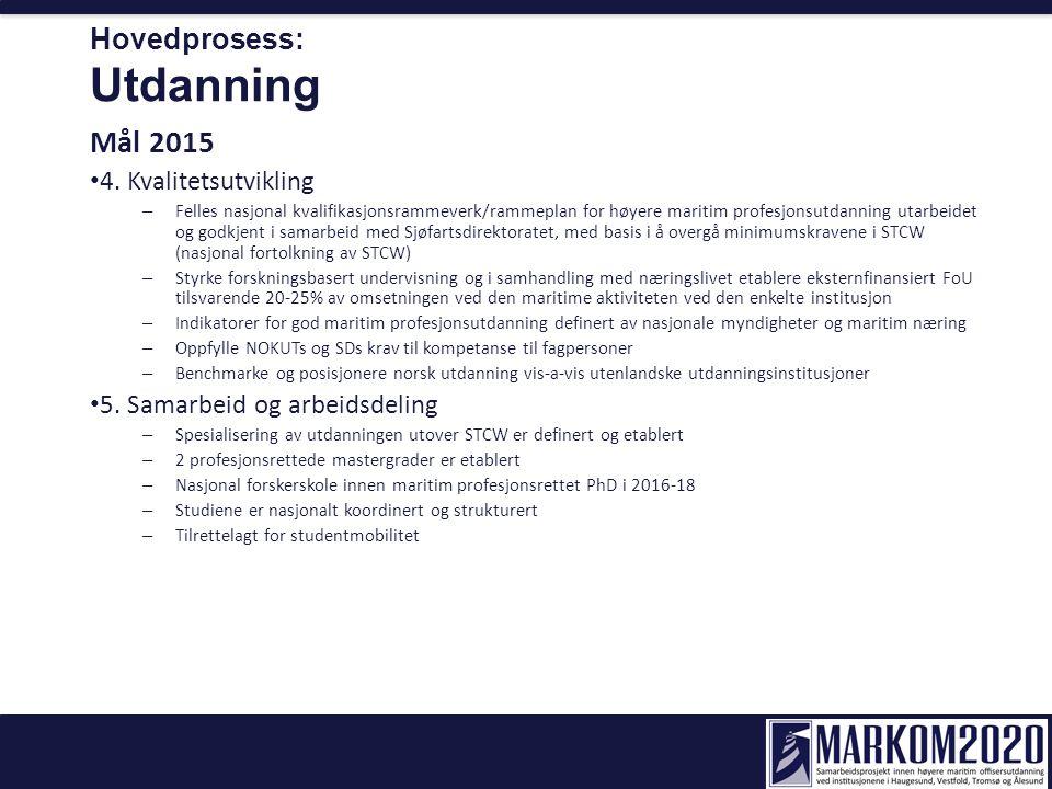 Hovedprosess: Utdanning Mål 2015 4. Kvalitetsutvikling – Felles nasjonal kvalifikasjonsrammeverk/rammeplan for høyere maritim profesjonsutdanning utar