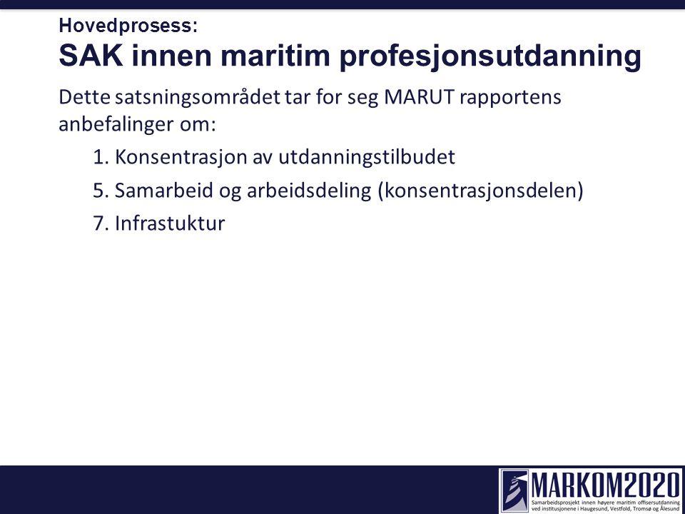 Hovedprosess: SAK innen maritim profesjonsutdanning Dette satsningsområdet tar for seg MARUT rapportens anbefalinger om: 1. Konsentrasjon av utdanning
