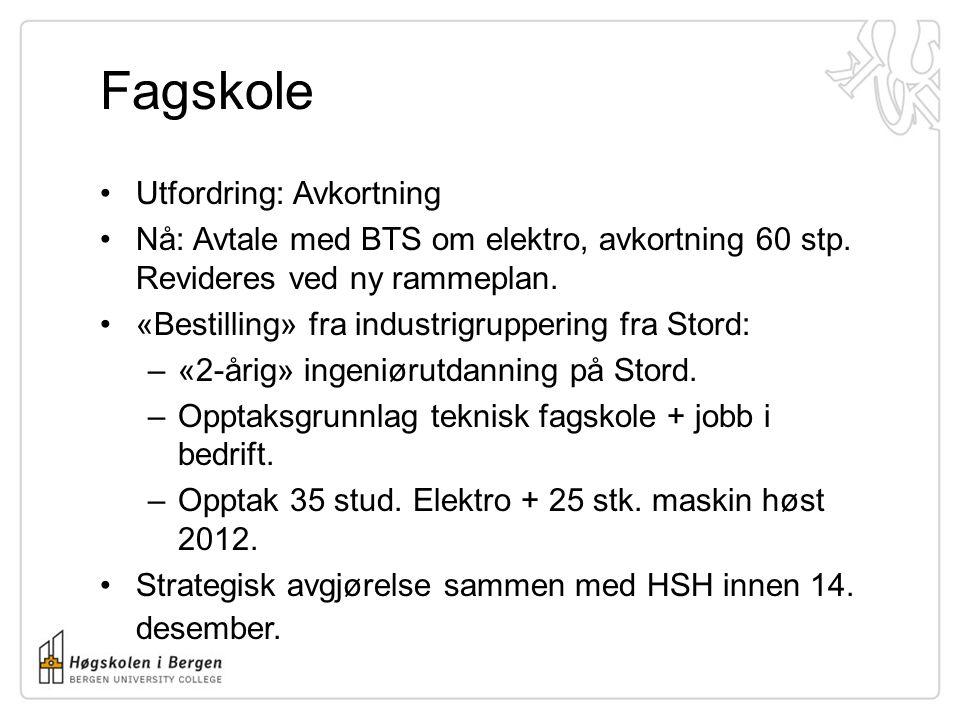 Fagskole Utfordring: Avkortning Nå: Avtale med BTS om elektro, avkortning 60 stp.