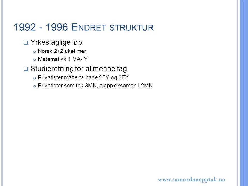 www.samordnaopptak.no 1992 - 1996 E NDRET STRUKTUR  Yrkesfaglige løp Norsk 2+2 uketimer Matematikk 1 MA- Y  Studieretning for allmenne fag Privatister måtte ta både 2FY og 3FY Privatister som tok 3MN, slapp eksamen i 2MN