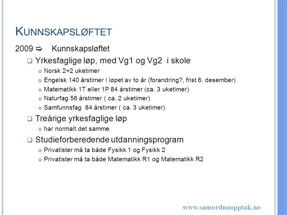 www.samordnaopptak.no M ATEMATIKK X I K UNNSKASPLØFTET  Et programfag på 84 årstimer (ca.
